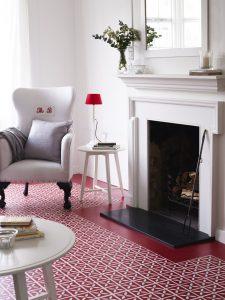 Dee Hardwicke - Lattice Cherry Red & Little Bricks Venetian Red Living Room