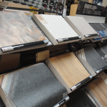 A picture of our vinyl flooring selection at our showroom