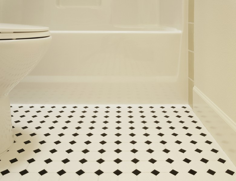A picture of tile flooring in a bathroom
