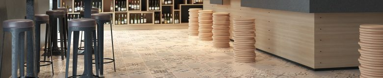 an image of a wine bare with floor factory tiles