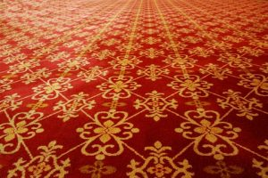 A picture of red patterned carpet