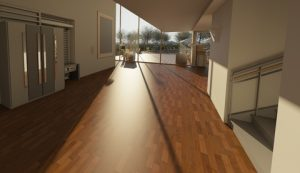 A picture of wood flooring in a big property